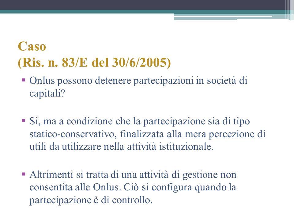 Caso (Ris. n. 83/E del 30/6/2005) Onlus possono detenere partecipazioni in società di capitali
