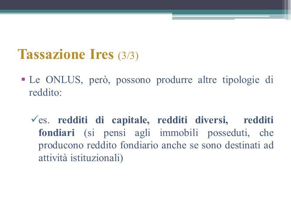 Tassazione Ires (3/3) Le ONLUS, però, possono produrre altre tipologie di reddito: