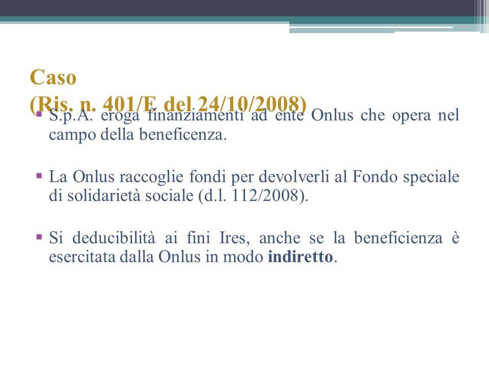 Caso (Ris. n. 401/E del 24/10/2008) S.p.A. eroga finanziamenti ad ente Onlus che opera nel campo della beneficenza.