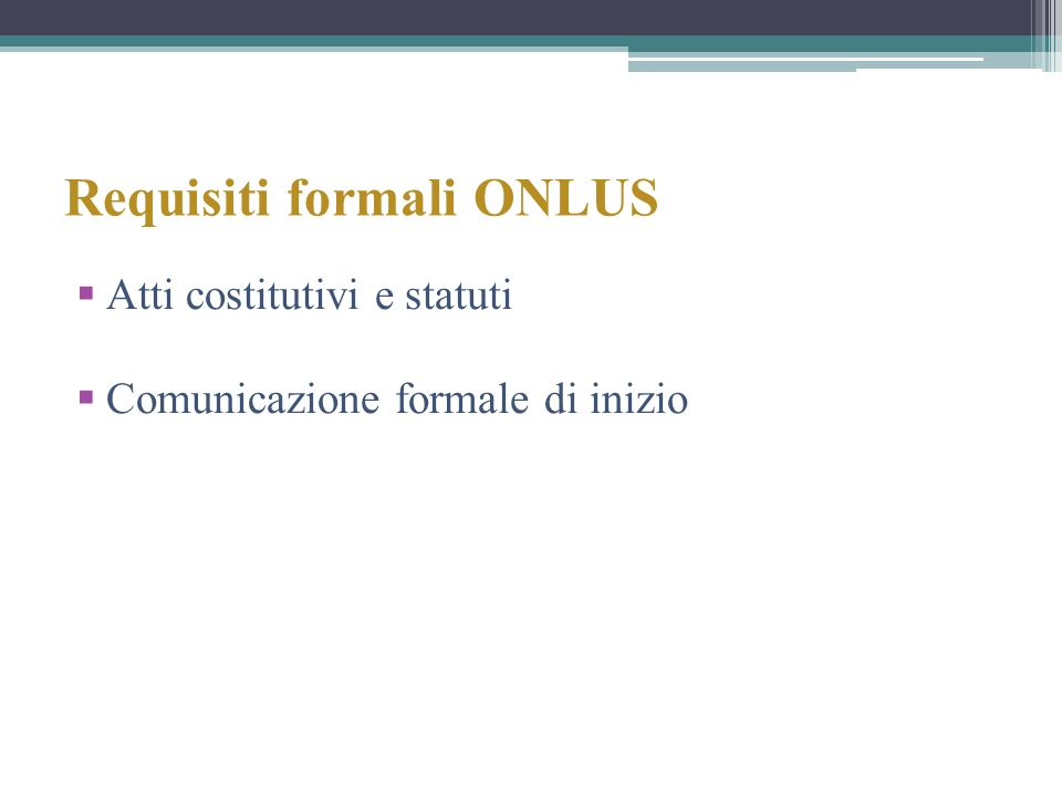 Requisiti formali ONLUS