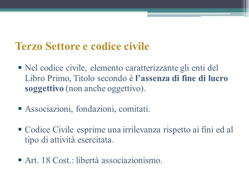 Terzo Settore e codice civile