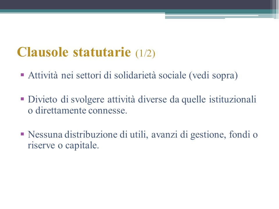 Clausole statutarie (1/2)