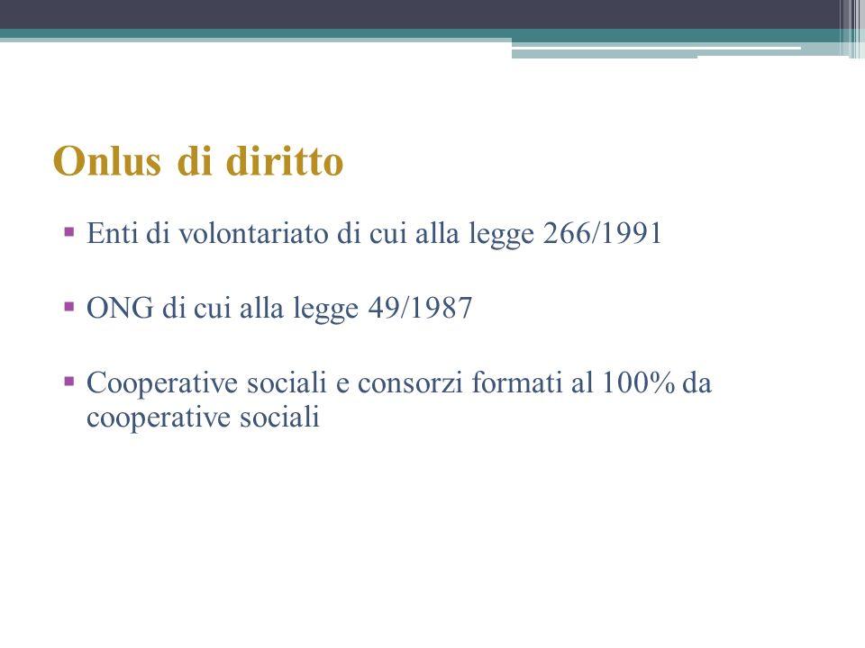 Onlus di diritto Enti di volontariato di cui alla legge 266/1991
