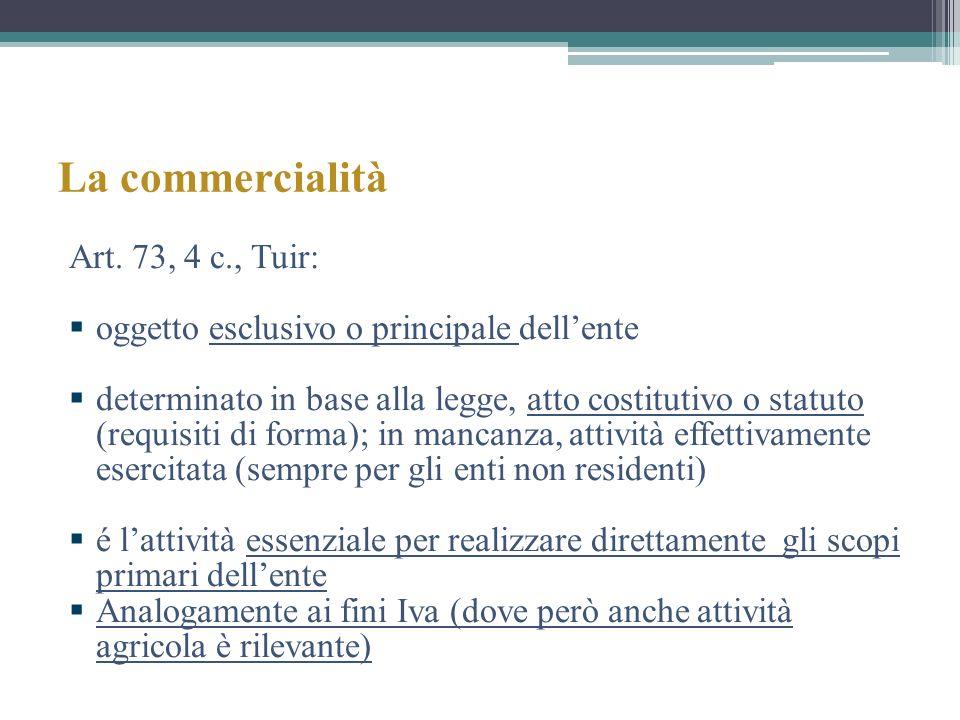 La commercialità Art. 73, 4 c., Tuir: