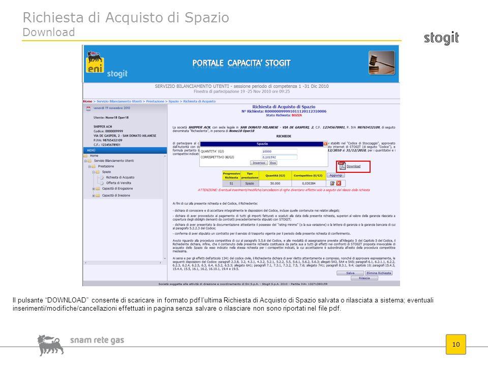 Richiesta di Acquisto di Spazio Download