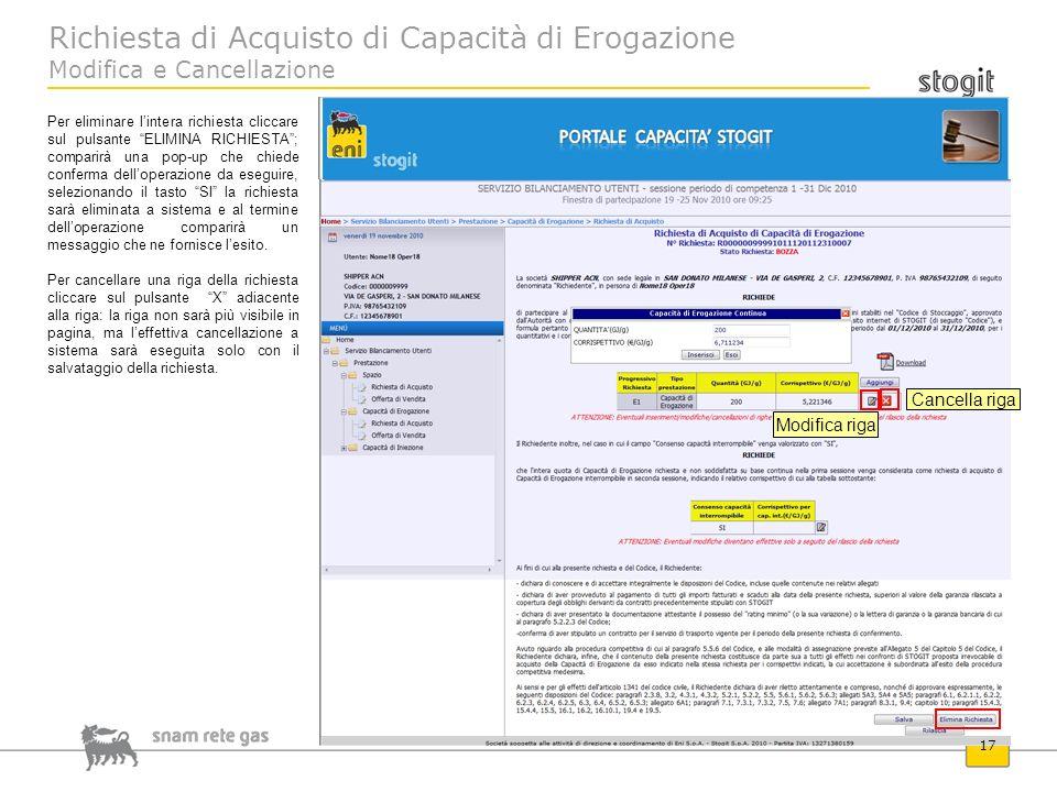 Richiesta di Acquisto di Capacità di Erogazione Modifica e Cancellazione