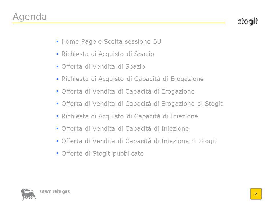 Agenda Home Page e Scelta sessione BU Richiesta di Acquisto di Spazio
