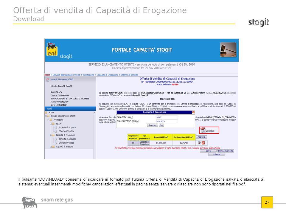 Offerta di vendita di Capacità di Erogazione Download