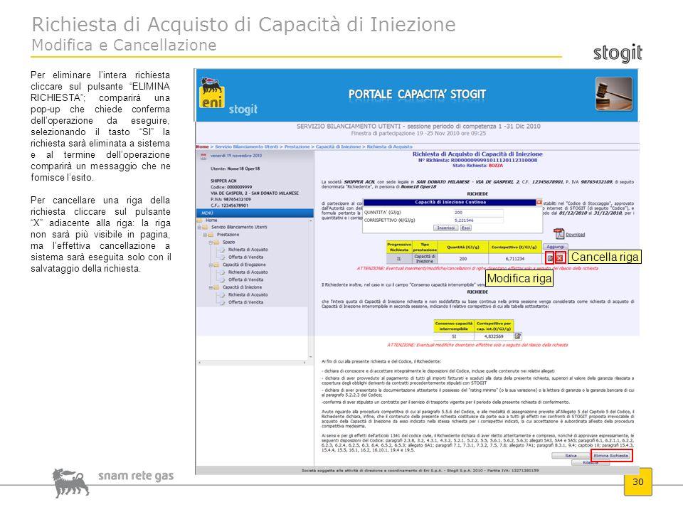 Richiesta di Acquisto di Capacità di Iniezione Modifica e Cancellazione