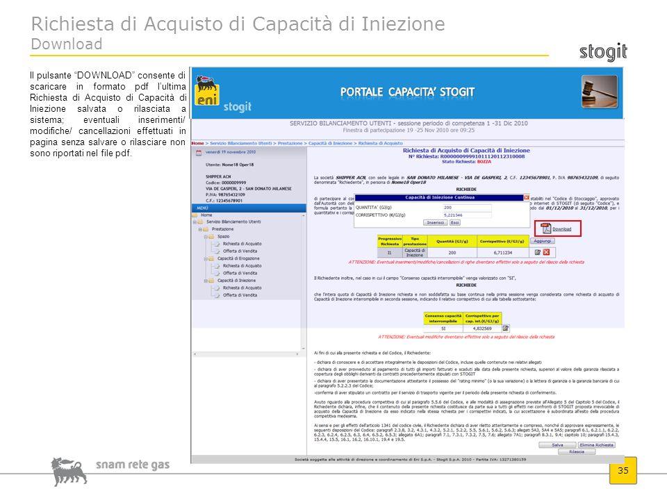 Richiesta di Acquisto di Capacità di Iniezione Download
