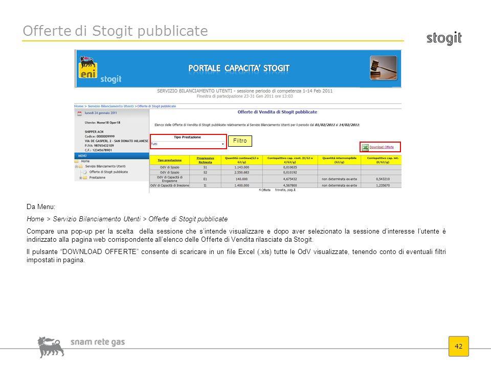 Offerte di Stogit pubblicate