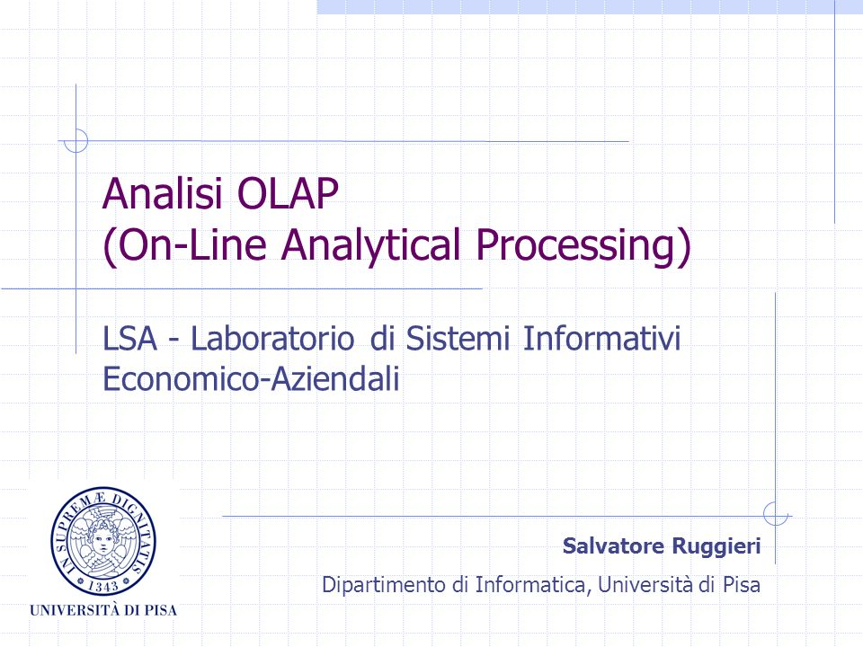 Analisi OLAP (On-Line Analytical Processing)