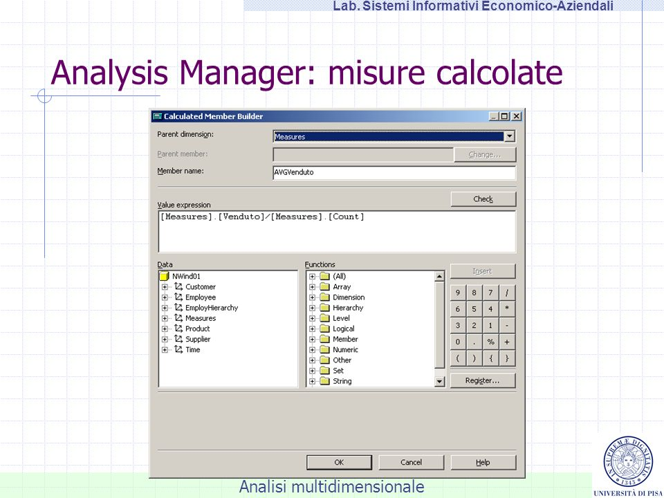 Analysis Manager: misure calcolate