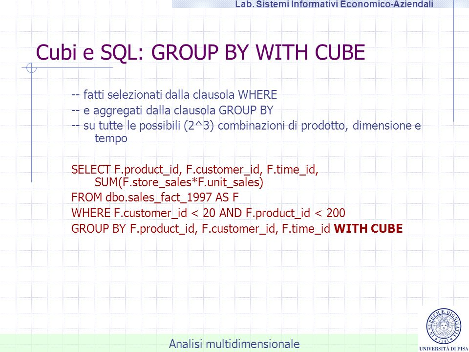 Cubi e SQL: GROUP BY WITH CUBE