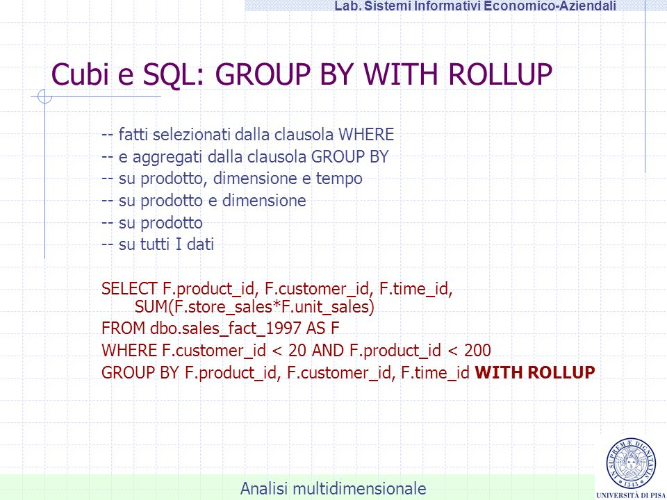 Cubi e SQL: GROUP BY WITH ROLLUP