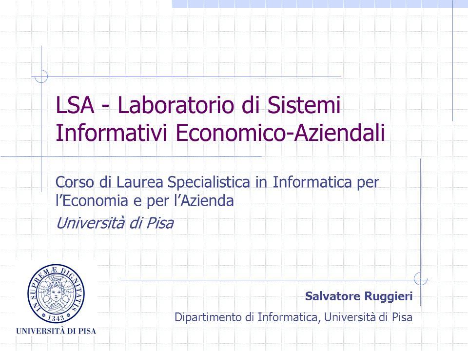 LSA - Laboratorio di Sistemi Informativi Economico-Aziendali