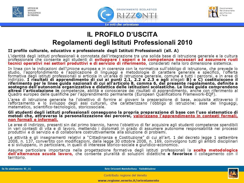 IL PROFILO D'USCITA Regolamenti degli Istituti Professionali 2010