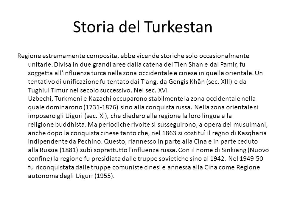 Storia del Turkestan