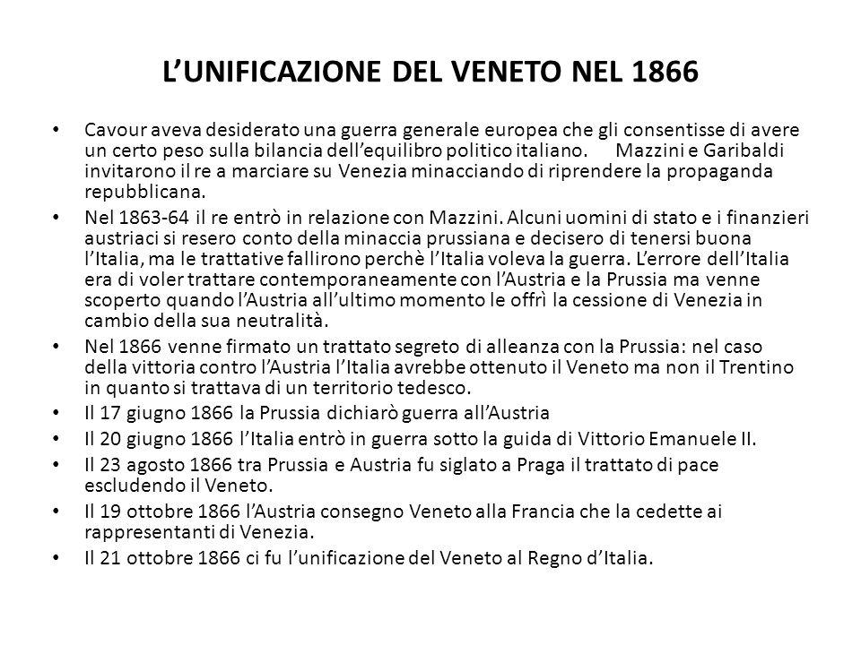 L'UNIFICAZIONE DEL VENETO NEL 1866