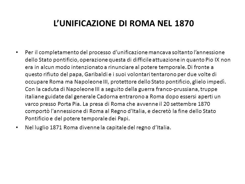 L'UNIFICAZIONE DI ROMA NEL 1870