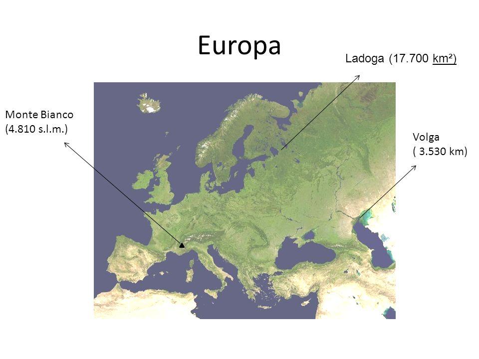 Europa Ladoga (17.700 km²) Monte Bianco (4.810 s.l.m.)