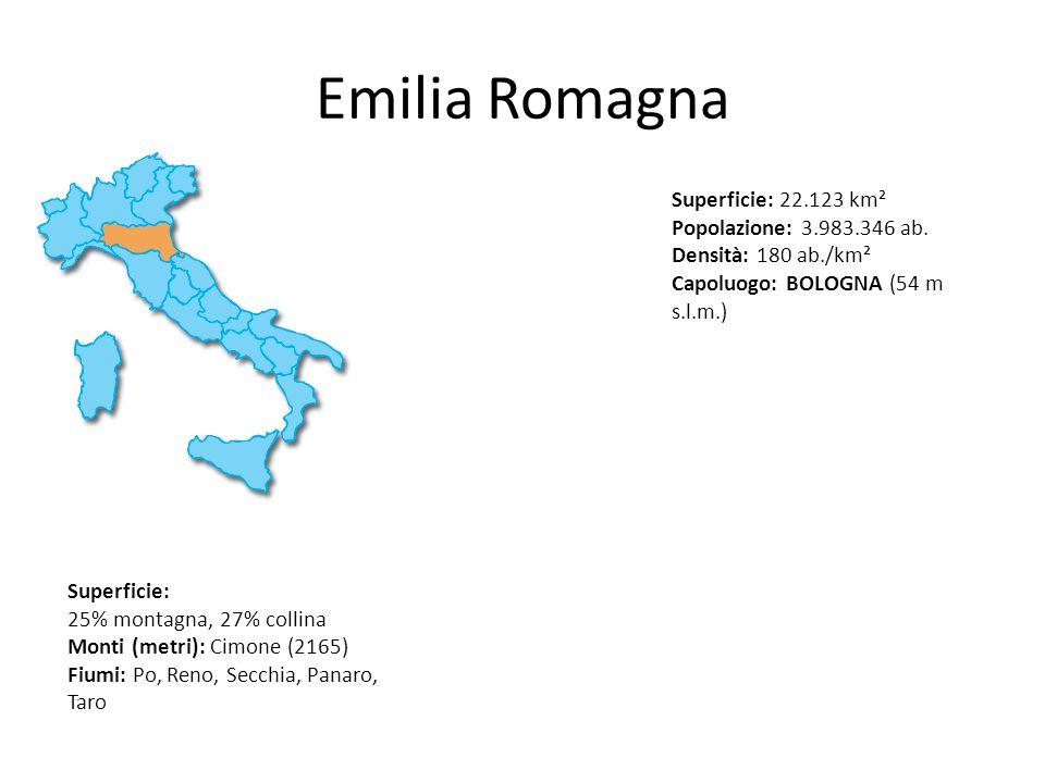 Emilia RomagnaSuperficie: 22.123 km² Popolazione: 3.983.346 ab. Densità: 180 ab./km². Capoluogo: BOLOGNA (54 m s.l.m.)