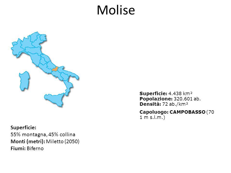 Molise Superficie: 55% montagna, 45% collina