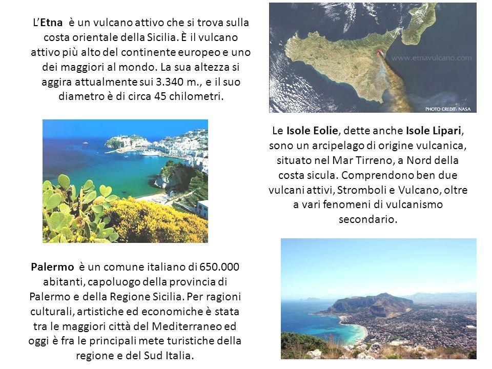L'Etna è un vulcano attivo che si trova sulla costa orientale della Sicilia. È il vulcano attivo più alto del continente europeo e uno dei maggiori al mondo. La sua altezza si aggira attualmente sui 3.340 m., e il suo diametro è di circa 45 chilometri.