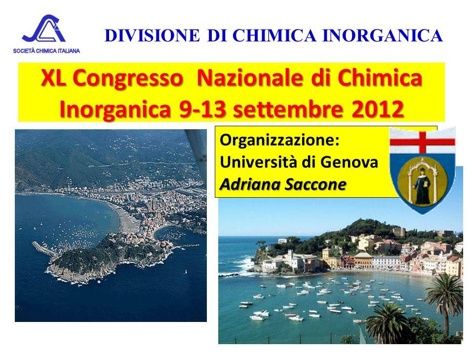 XL Congresso Nazionale di Chimica Inorganica 9-13 settembre 2012