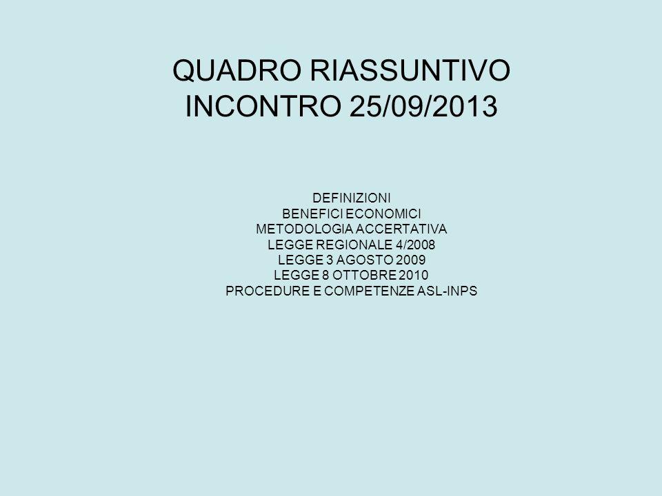 QUADRO RIASSUNTIVO INCONTRO 25/09/2013