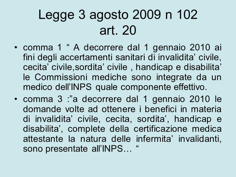 Legge 3 agosto 2009 n 102 art. 20
