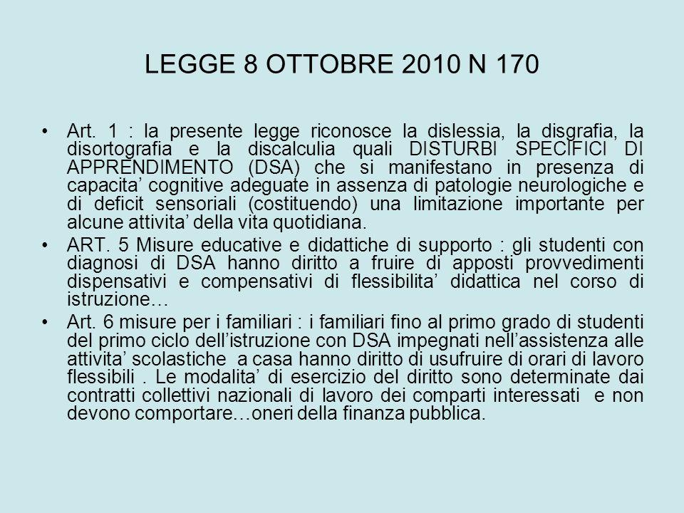 LEGGE 8 OTTOBRE 2010 N 170
