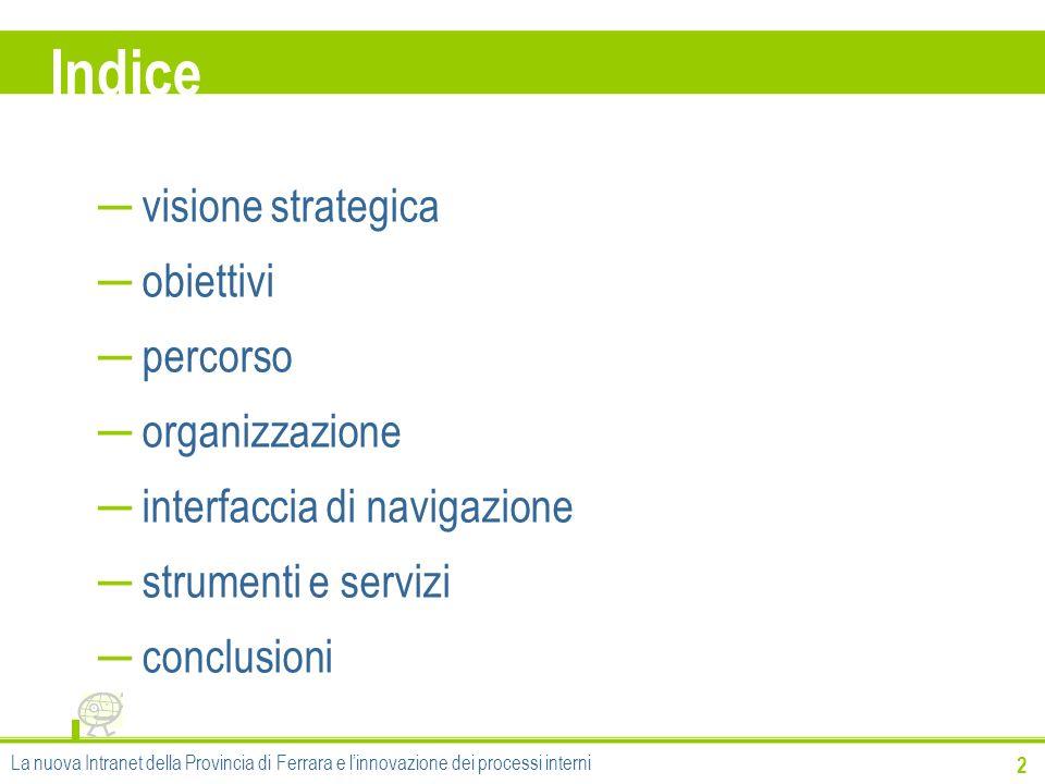 Indice visione strategica obiettivi percorso organizzazione
