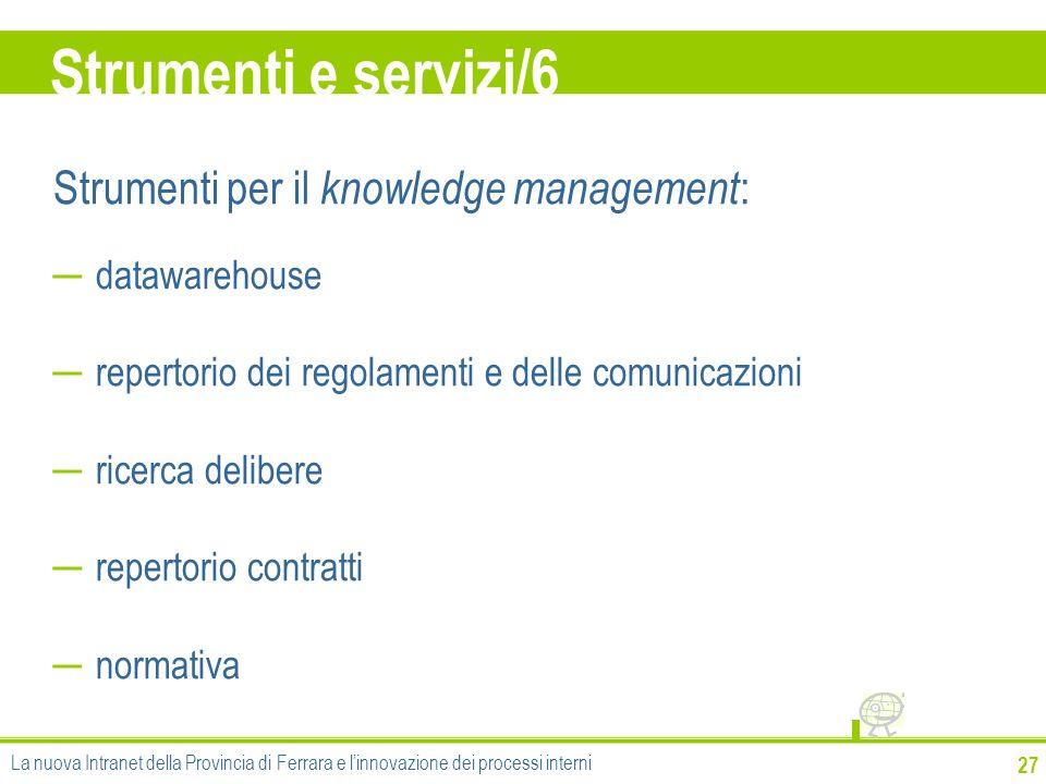 Strumenti e servizi/6 Strumenti per il knowledge management:
