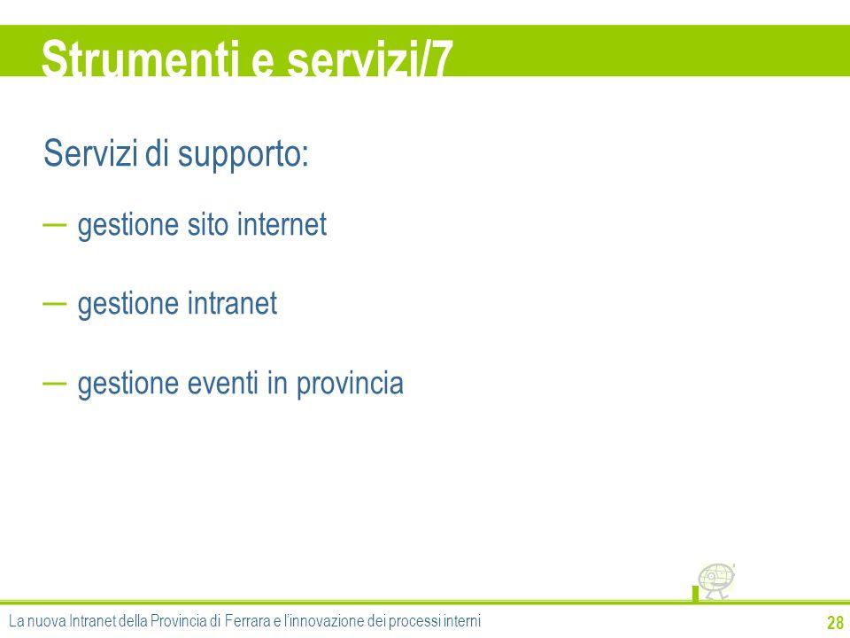 Strumenti e servizi/7 Servizi di supporto: gestione sito internet