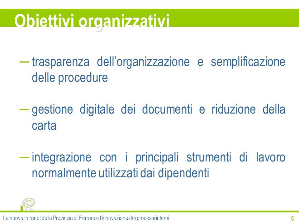 Obiettivi organizzativi