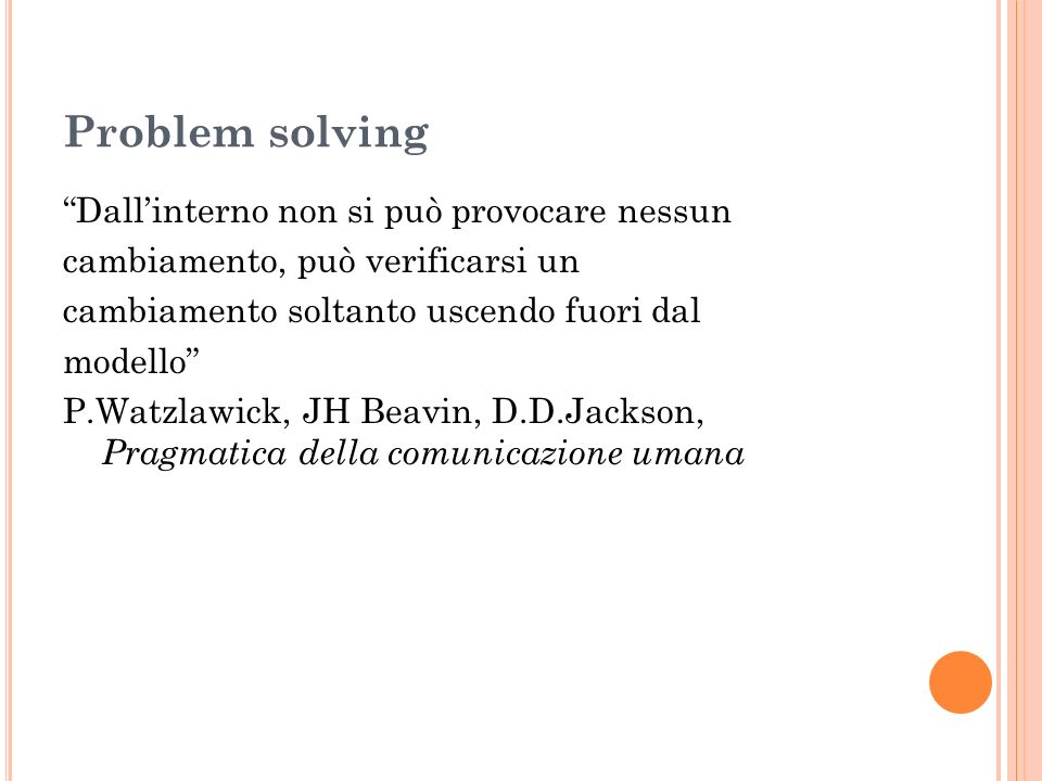 Problem solving Dall'interno non si può provocare nessun