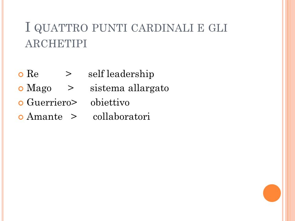 I quattro punti cardinali e gli archetipi