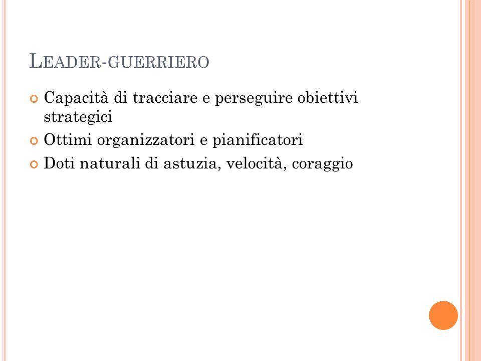 Leader-guerriero Capacità di tracciare e perseguire obiettivi strategici. Ottimi organizzatori e pianificatori.