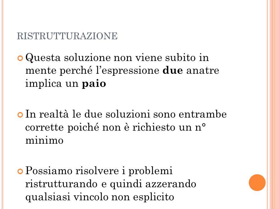 ristrutturazione Questa soluzione non viene subito in mente perché l'espressione due anatre implica un paio.