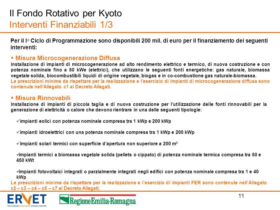 Il Fondo Rotativo per Kyoto Interventi Finanziabili 1/3