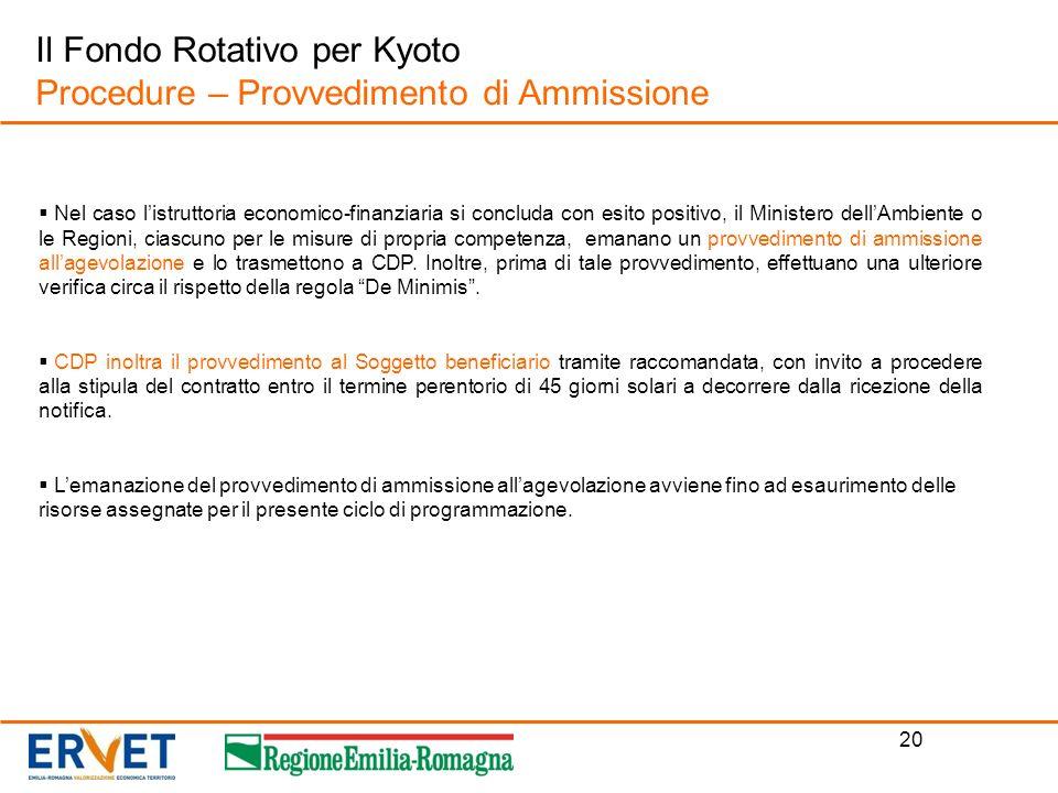 Il Fondo Rotativo per Kyoto Procedure – Provvedimento di Ammissione