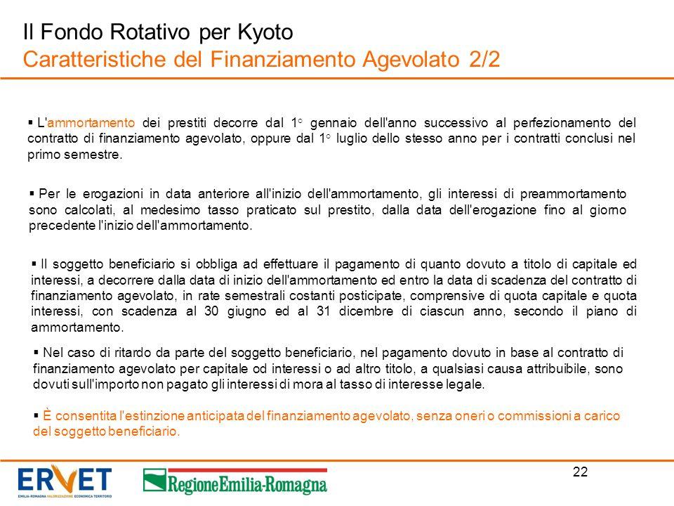 Il Fondo Rotativo per Kyoto Caratteristiche del Finanziamento Agevolato 2/2