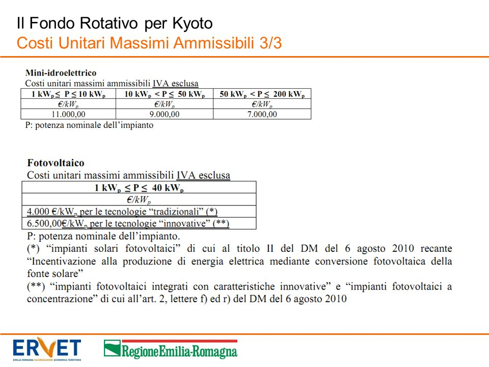 Il Fondo Rotativo per Kyoto Costi Unitari Massimi Ammissibili 3/3