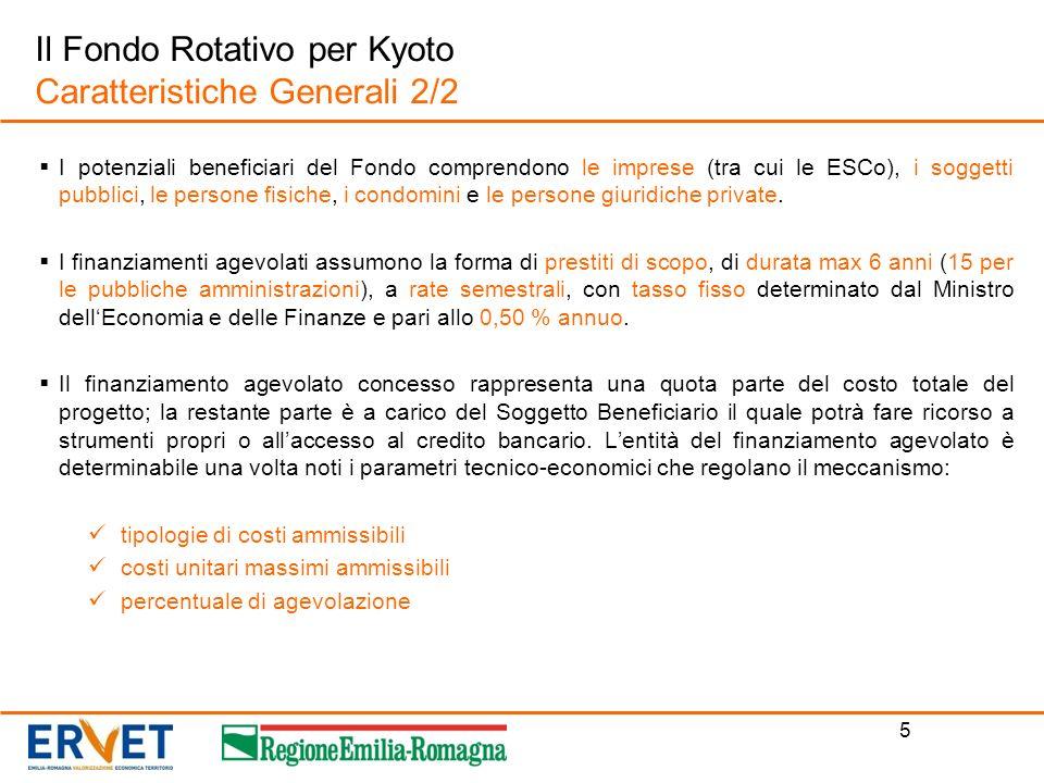 Il Fondo Rotativo per Kyoto Caratteristiche Generali 2/2