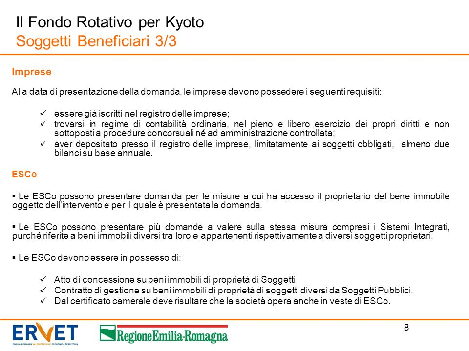 Il Fondo Rotativo per Kyoto Soggetti Beneficiari 3/3