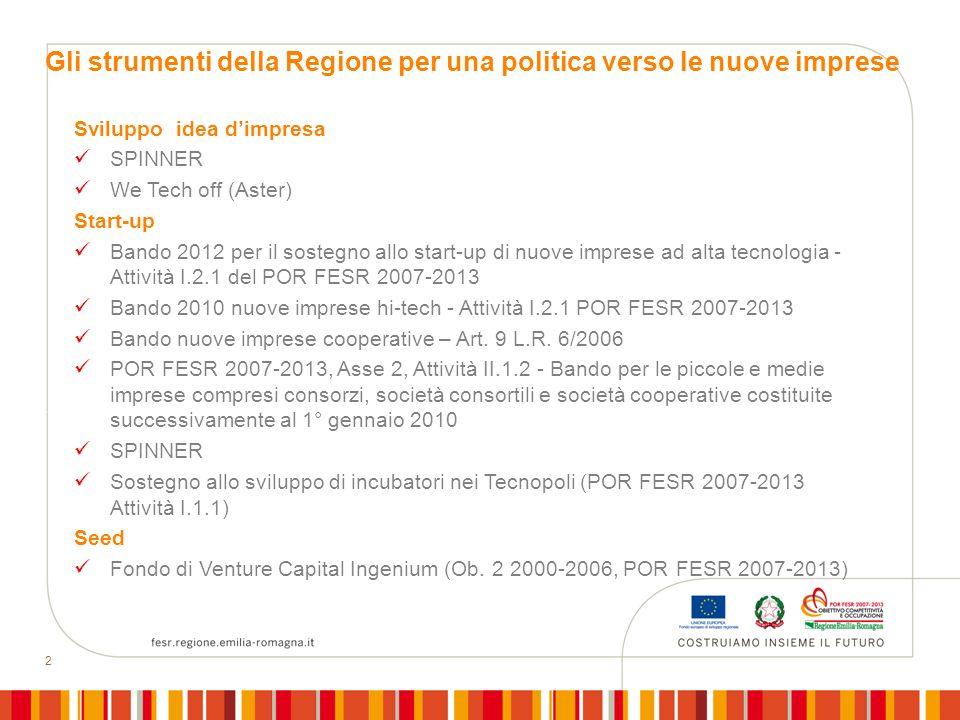Gli strumenti della Regione per una politica verso le nuove imprese