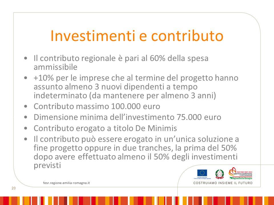 Investimenti e contributo