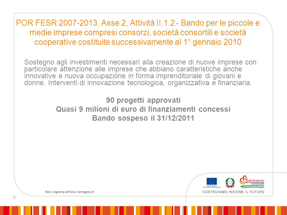 Quasi 9 milioni di euro di finanziamenti concessi