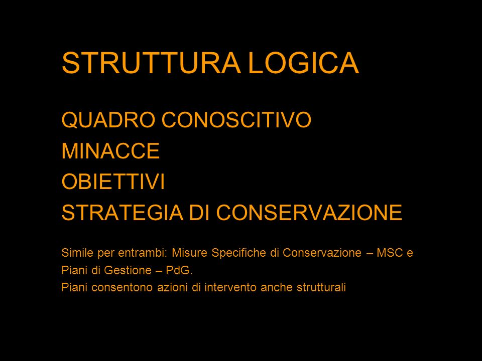 STRUTTURA LOGICA QUADRO CONOSCITIVO MINACCE OBIETTIVI